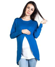 Blush 9 T-Shirt With Wrap Overlay - Royal Blue Outer Inner White