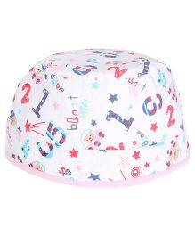 Cucumber Round Cap Numbers And Star Print - White & Pink