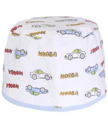 Cucumber Round Cap Car And Vroom Print - White & Blue