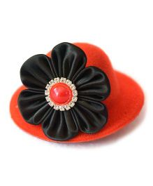 Little Miss Cuttie Mini Hat With Satin Flower Hair Clip - Red