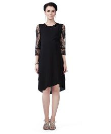 House of Napius Radiation Safe Comfortable Long Sleeves Maternity Dress - Black