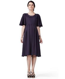 House of Napius Radiation Safe Comfortable Half Sleeves Maternity Dress - Purple