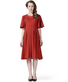 House of Napius Radiation Safe Comfortable Half Sleeves Maternity Dress - Rust