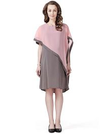 House of Napius Radiation Safe Comfortable Sleeveless Maternity Dress - Pink & Grey