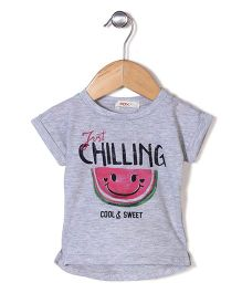 Fox Baby Half Sleeves Just Chilling Print Top - Grey