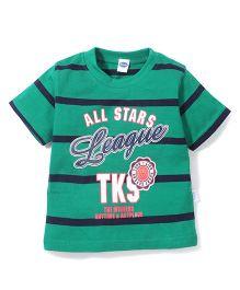 Teddy Half Sleeves Stripe T- Shirt League Print - Green Navy