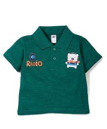 Zero Half Sleeves T-Shirt Bear Print - Green