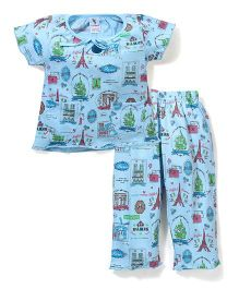 Cucumber Half Sleeves Night Suit Eiffel Tower Print - Sky Blue