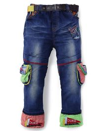 Noddy Original Clothing Stone Washed Patched Jeans - Blue