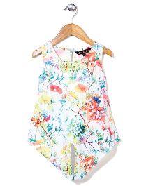 Gini & Jony Sleeveless  Party Top Floral Print - Off White
