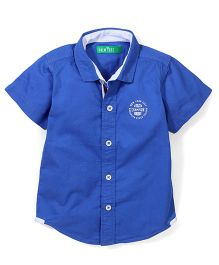 Palm Tree Half Sleeves Shirt - Blue