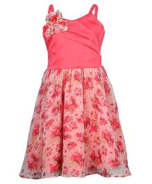 Cutecumber Singlet Printed Dress Embellished And Bow Applique - Peach