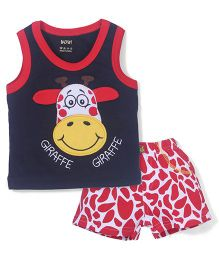 Wow Contrast Neckline T-Shirt And Shorts Giraffe Embroidery - Navy Red