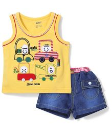 Wow Sleeveless T-Shirt And Shorts Car Patch - Yellow