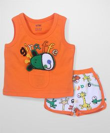 Wow Sleeveless T-Shirt and Shorts Set Giraffe Patch - Orange and White