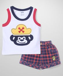 Wow Sleeveless T-Shirt and Shorts Set Monkey Patch - White and Blue