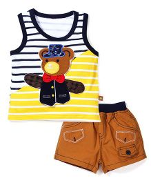 Wow Sleeveless T-Shirt and Shorts Set Teddy Patch - Yellow and Blue