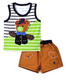 Wow Sleeveless T-Shirt and Shorts Set Teddy Patch - Green and Blue