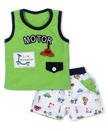 Wow Sleeveless T-Shirt and Shorts Set Motor Print - Green and White