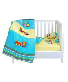 The Button Tree Engine Print Box 5 Piece Cot Set - Blue And Yellow