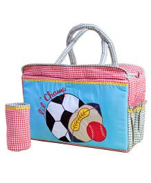 The Button Tree Lil Champ Diaper Bag - Blue And Red