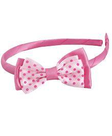 Pikaboo Grosgrain Polka Bow Hairband - Pink