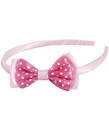 Pikaboo Grograin Polka Bow Hairband - Pink