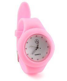 Analog Wrist Watch Round Shape Dial - Pink