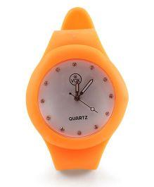 Analog Wrist Watch Round Shape Dial - Orange