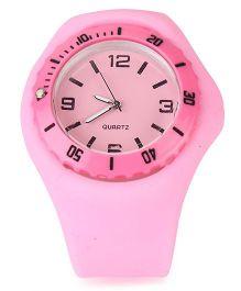 Analog Wrist Watch Round Shape Dial - Dark Pink
