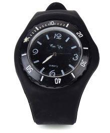 Analog Wrist Watch Round Shape Dial - Black