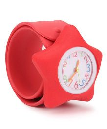 Analog Wrist Watch Star Shape Dial - Red