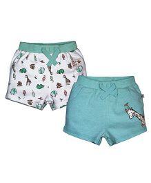 FS Mini Klub Shorts Pack of 2 Animals Print - White and Green