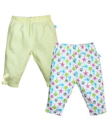 FS Mini Klub Pant Set of 2 Star Print - Yellow And Multi Color