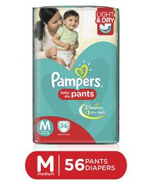 Pampers Pant Style Diapers Light And Dry Medium - 56 Pieces