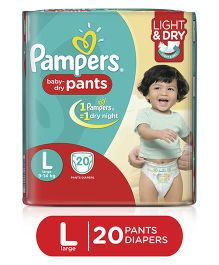 Pampers Pant Style Diapers Light And Dry Large - 20 Pieces