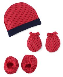 Babyhug Dotted Cap Mittens And Booties Set - Red