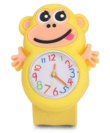 Analog Wrist Watch Monkey Shape Dial - Yellow