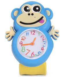 Analog Wrist Watch Monkey Shape Dial - Yellow Blue