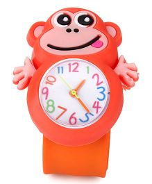 Analog Wrist Watch Monkey Shape Dial - Orange