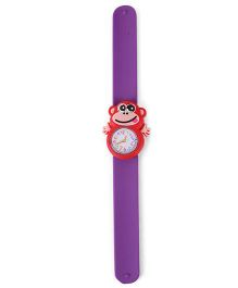 Analog Wrist Watch Monkey Shape Dial - Purple Red