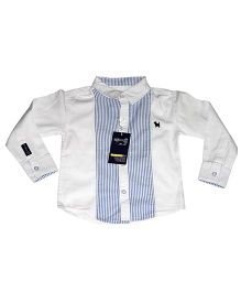 Piperz Full Sleeves Shirt With Strip - White And Blue