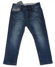 Piperz Full Length Washed Pattern Denims - Blue