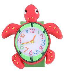 Analog Wrist Watch Tortoise Shape Dial - Red Green