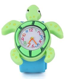 Analog Wrist Watch Tortoise Shape Dial - Green Blue