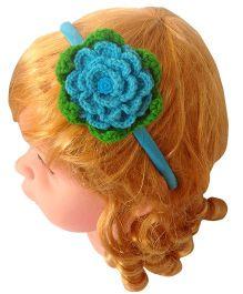 My World Of Crochet By Neelam Crochet Flower With Leaf Hairband - Sky Blue