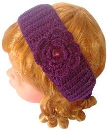 My World Of Crochet By Neelam Handmade Crochet Flower Headband With Lock Button - Purple