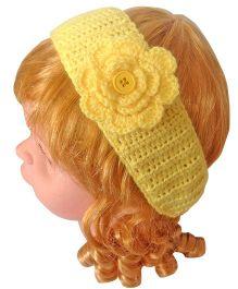 My World Of Crochet By Neelam Handmade Crochet Flower Headband With Lock Button - Yellow