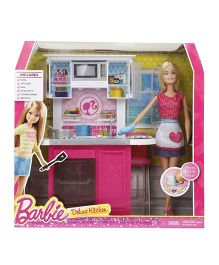 Barbie Deluxe Kitchen Set With Doll - Pink