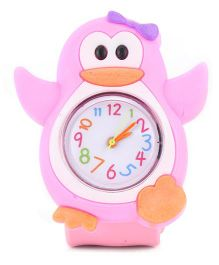 Analog Wrist Watch Penguin Shape Dial - Pink